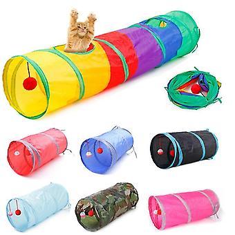 7 لون مضحك القط القط نفق نفق القط تلعب نفق rainbown البني للطي 2 ثقوب نفق القط لعبة السائبة لعبة نفق أرنب