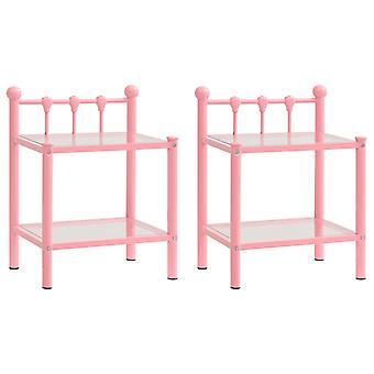 vidaXL nattbord 2 stk. rosa gjennomsiktig metall og glass