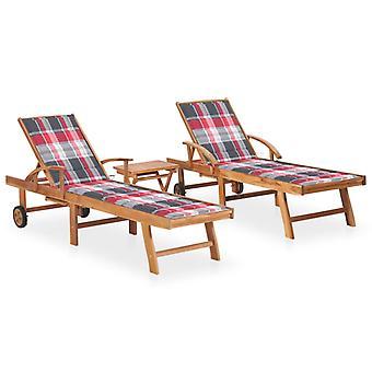 vidaXL Sonnenliegen 2 Stk. mit Tisch und Auflagen Massivholz Teak