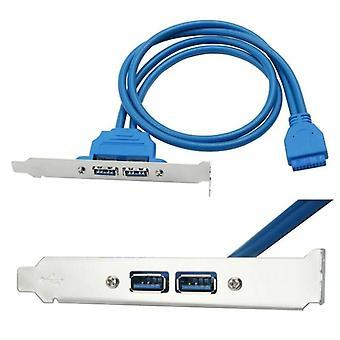 USB 3.0 Back Panel Expansion Bracket to 20 Pins Header 2-Port Motherboard Cable