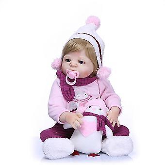 Genfødsel dukke 23inch fuld silikone vinyl genfødt baby pige dukker mode dukker bebes genfødte menina piger børn legetøj brinquedo bonecas sød gave