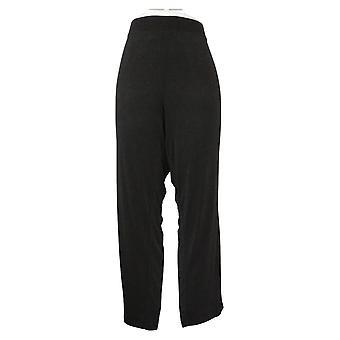 Susan Graver Pantalones de Mujer Petite Essentials Straight Leg Negro A228084