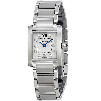 Cartier Tanque de mujer Francaise Reloj de esfera blanca - WE110006