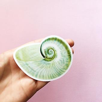 Green Seashell Vinyl Sticker