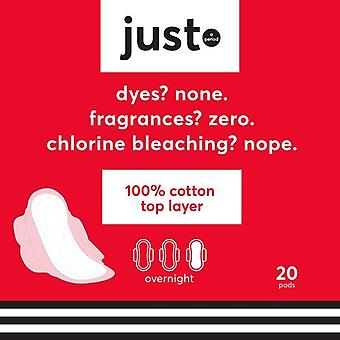 Just Cotton Top Layer Pads, Ultra-Thin with Wings, Overnight, 20 ct