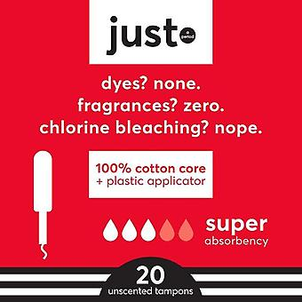 Just Cotton Core Tampons, Plastic Applicator, Super Absorbency, 20 ct