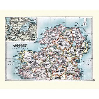 Carte antique de l'Irlande du Nord, détail de Londonderry, 19ème siècle. Grande photo encadrée. Antique.