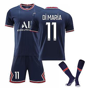 Di Maria #11 Jersey Home 2021-2022 New Season Paris Soccer T-Shirts Jersey Set för barnungdomar
