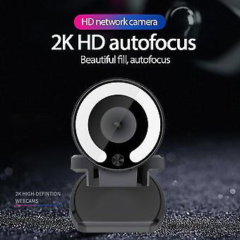1080p Webcam With Ring Light, Privacy Cover And Dual Microphone, Advanced Auto-focus, Adjustable Brightness,  Streaming Web Camera For Zoom Skype Face