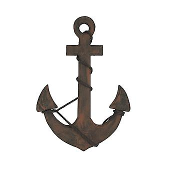 Rustic Brown Ship's Anchor Nautical Wall Hanging Rope Accents