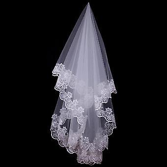 Women Bridal Short Wedding Veil White Lace Flower Appliques Wedding