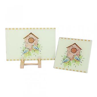 2pcs Multi-functional Tempered Glass Cutting Chopping Board Kitchen Surface Chef Board Vivid Birds