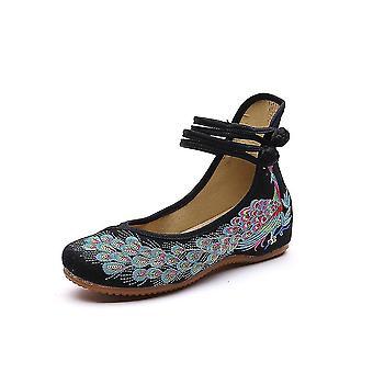 Women's Chinese Vintage Ethnic Embroidery Low Heel Flat Elevator Cheongsam Dress Shoes Asagao