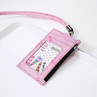 (Pink)Badge Holder Marble Pu Leather 4 Slots With Zip Pocket - 4 Colors Option