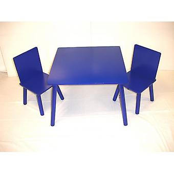 Wooden Kids Table and 2 Chairs set Blue
