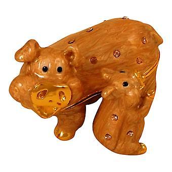 Mère et bébé cochon porc Piggy porcelet Jeweled émaillé articulé Trinket Box