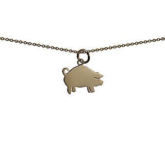 9ct goud 18x12mm varken hanger met een kabel ketting 20 inch