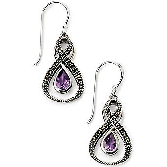 925 Silver Mercasit And Amethyst Earring