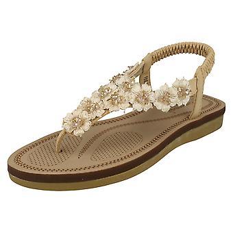 Ladies Savannah Flower Detailed Toe Post Sandals F0988