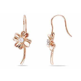 Affici Sterling Silver Daisy Drop Earrings 18ct Rose Gold Plated with Diamond CZ Gems