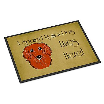 Longhair Red Dachshund Spoiled Dog Lives Here Indoor or Outdoor Mat 24x36