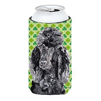 Black Standard Poodle Lucky Shamrock St. Patrick's Day Tall Boy Beverage Insulat