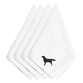Black Labrador Retriever Embroidered Napkins Set of 4