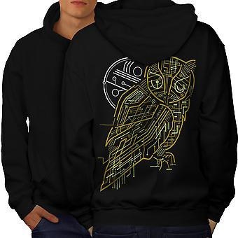 Nature Owl System Animal Men BlackHoodie Back | Wellcoda
