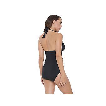 Seaspray SY006351A vrouw zwart effen kleur kostuum een stuk zwembroek
