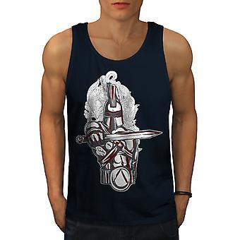 Knight Spartan Fantasy Men NavyTank Top | Wellcoda
