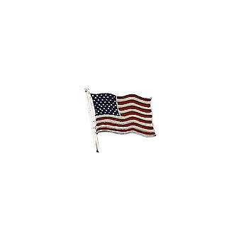 14k White Gold American Flag Lapel Pin 14.5x14mm Color Jewelry Gifts for Men - 1.4 Grams