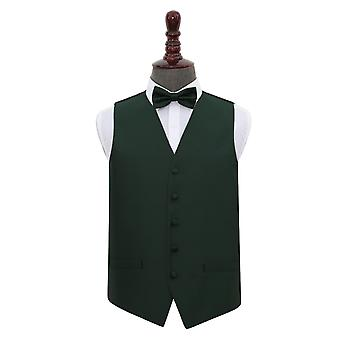 Dark Green Solid Check Wedding Waistcoat & Bow Tie Set
