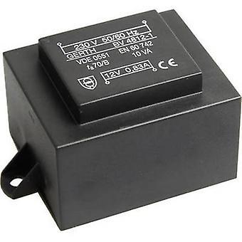 Gerth PT482402F PCB mount transformator 1 x 230 V 2 x 12 V AC 10 VA 416 mA