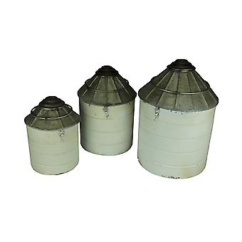 Vintage Farmhouse Tin Silo Canister Set of 3