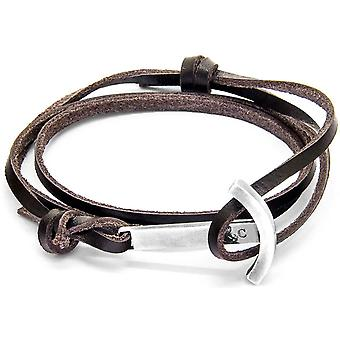 Anchor and Crew Clipper Silver and Leather Bracelet - Dark Brown