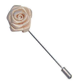 Bassin och brun ros blomma Lapel Pin - vit