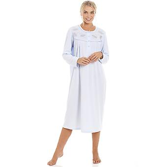 Camille Womens Classic Light Blue Long Sleeve Nightdress