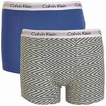 Calvin Klein Boys 2 Pack Modern Cotton Boxer Trunk, Medium Grey Chevron Print / Cobalt Water Blue, Medium