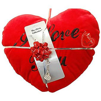 TOC Sisters Share Laughter... Pendant Necklace & Red Heart Cushion Gift Set