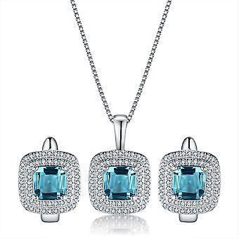 925 Sterling Zilver Halo kussen Asscher gesneden Aqua blauwe kleur Set