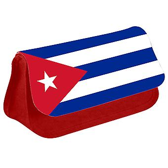 Cuba Flag Printed Design Pencil Case for Stationary/Cosmetic - 0044 (Red) by i-Tronixs