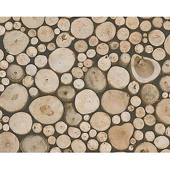 3D Effect Tree Trunk stapel hout Log Wallpaper Forest Beige bruin A.S creatie