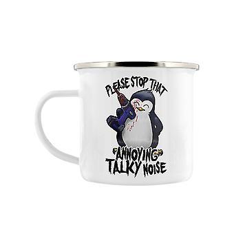 Psycho Penguin That Annoying Talky Noise Enamel Mug