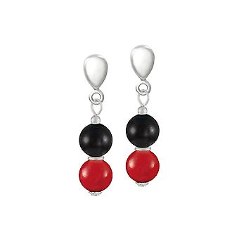 Eternal Collection Finale Red/Black Mountain Jade Silver Tone Drop Clip On Earrings