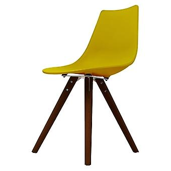 Fusion Living Iconic Mustard Plastic Dining Chair With Dark Wood Legs