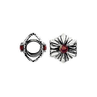 Storywheels Oxidised Silver & Garnet Flower Charm S455G