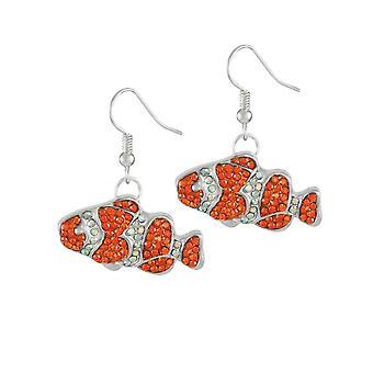 Éternelle Collection poisson Clown Orange Crystal Silver Tone Drop boucles d'oreilles