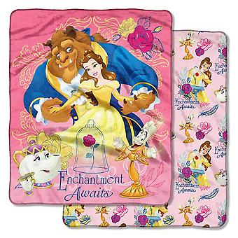 Double Sided Cloud Throws - Beauty And The Beast - Enchantment Awaits New 50x60