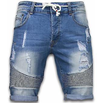 Korte Broeken Heren - Slim Fit Ribbed Look Shorts - Blauw