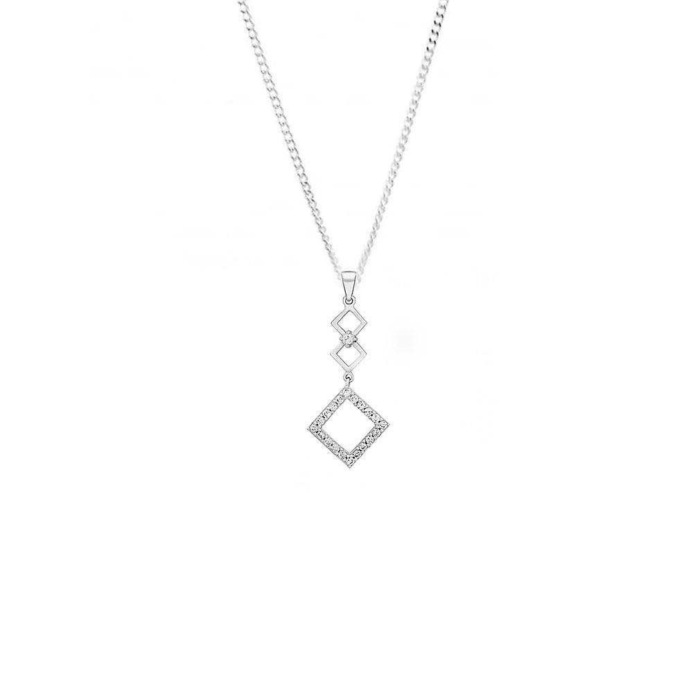 Eternity 9ct White Gold 3 Square Cubic Zirconia Drop Pendant And 18' Chain